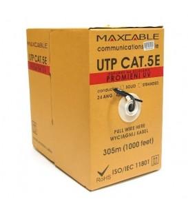 MAXCABLE Cavo Rete Cat.5E UTP CU UV-Resist Esterno 305m Nero