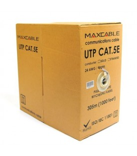 MAXCABLE Cavo Rete Cat.5E UTP CU Pure Copper Interno 305m Grigio