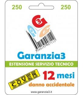 GARANZIA3 COVER - Copertura Danno Accidentale 12 mesi - Massimale di Euro 250
