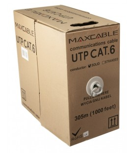 MAXCABLE Cavo Rete Cat.6 UTP CU Pure Copper Interno 305m Grigio